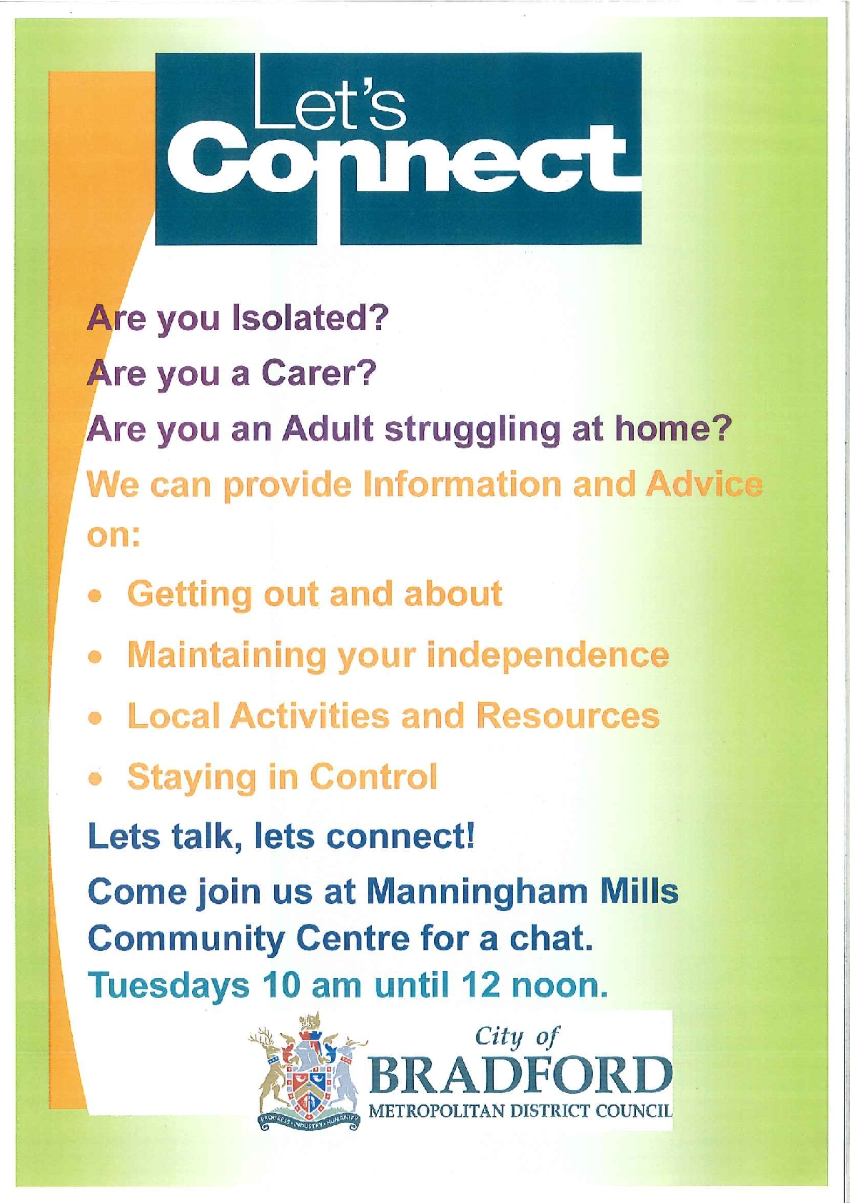 Are you a Carer, an adult who may be struggling at home or feeling isolated?