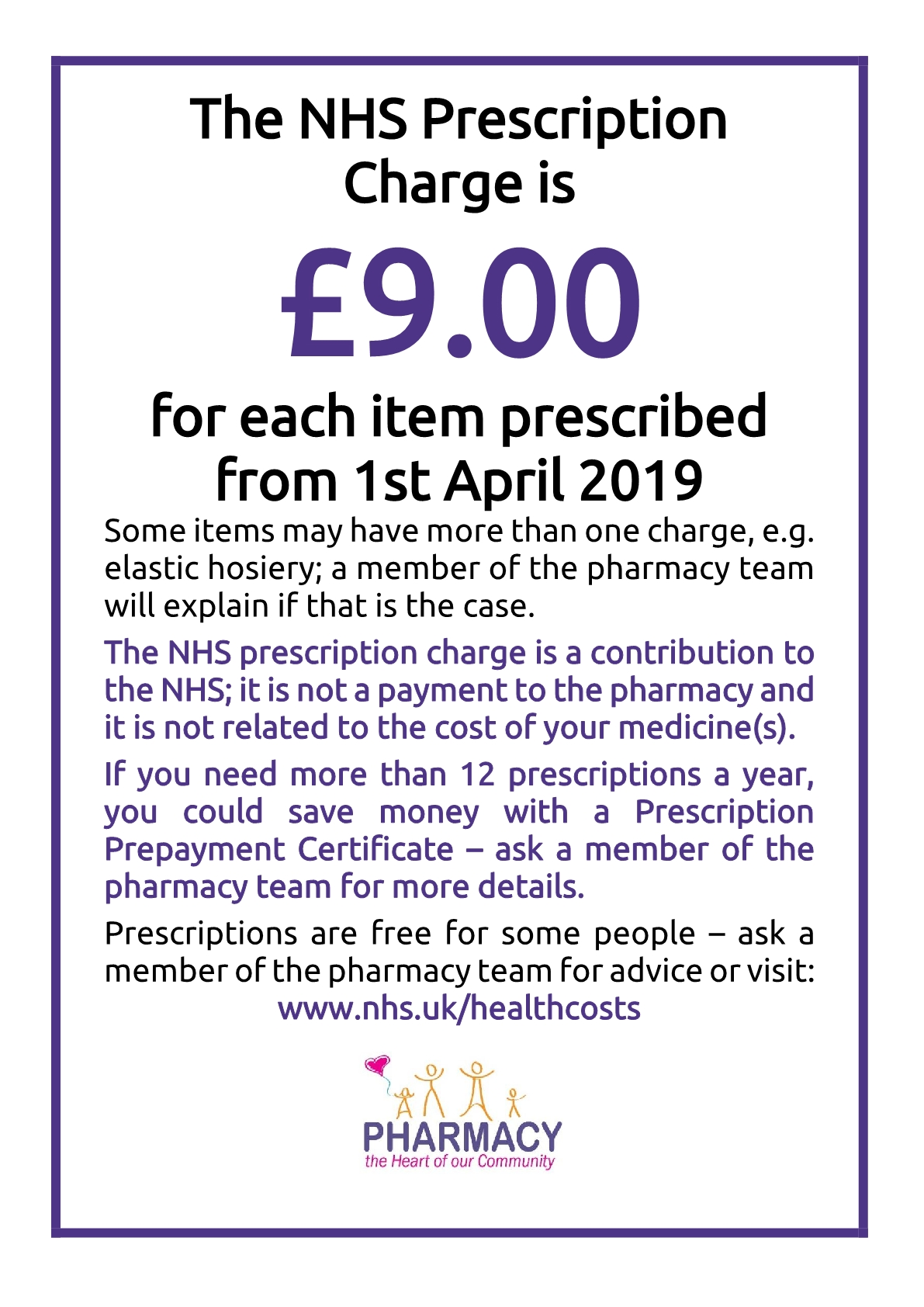 NHS Prescription charges is £9 per item from 1st April 2019